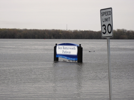 Flooded area with signs