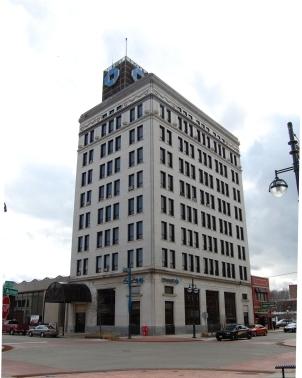 eight story corner bank building