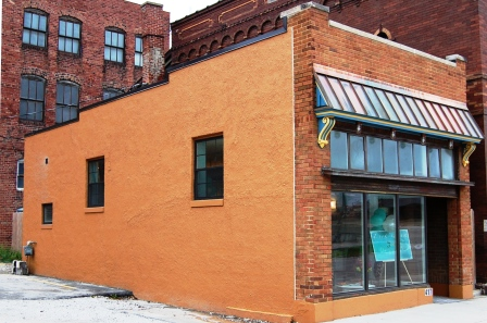 one story slender historic commercial building